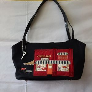Fossil Embroidered Novelty Coffee Shop Purse